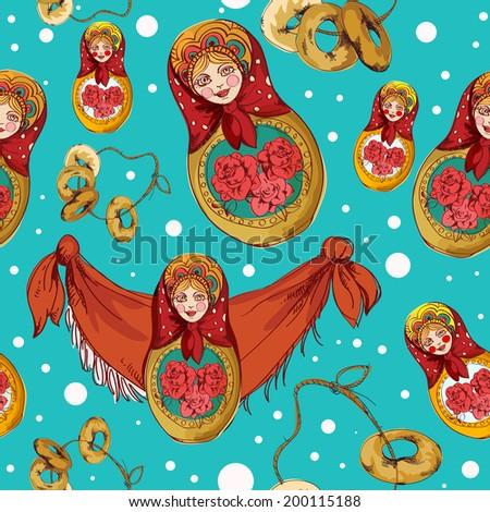 Russian traditional matryoshka folk doll seamless pattern vector illustration - stock vector