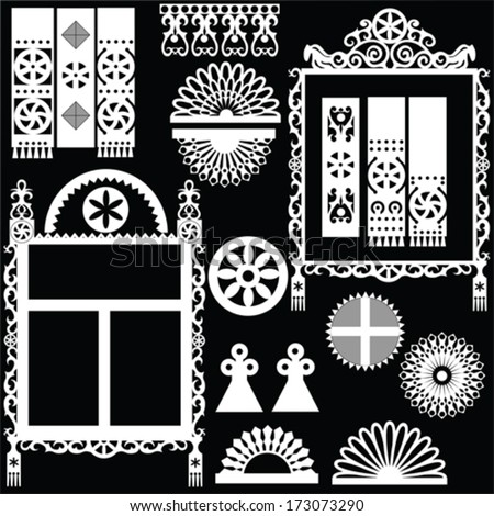 Russian traditional wood carving in the exterior of the house. Details of platband, pediment, pilaster.  - stock vector