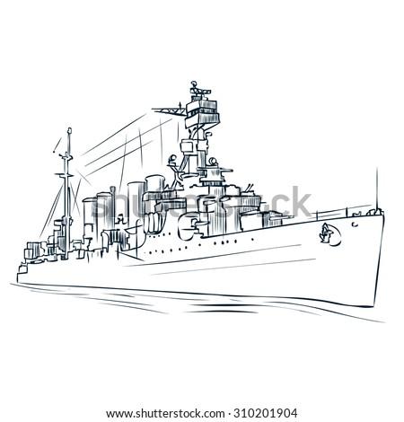 Russian warship since the World War 2. Hand drawn vector illustration. - stock vector