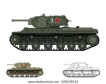 Russian WW2 KV-1 tank - stock vector