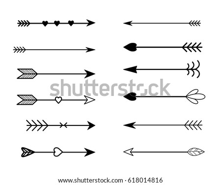 Rustic Arrow Set Vector Stock 618014816 Shutterstock Rh Com Country Heart