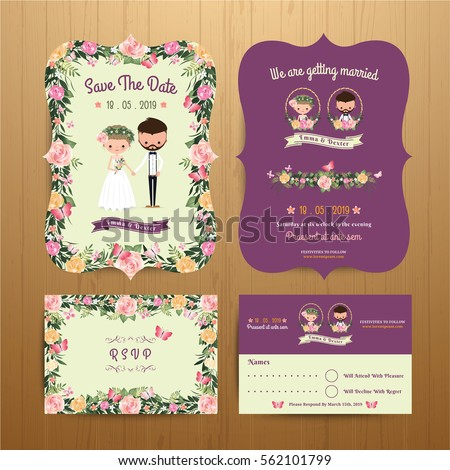 Rustic Blossom Flowers Cartoon Couple Wedding Invitation Card RSVP Set On Wood Background