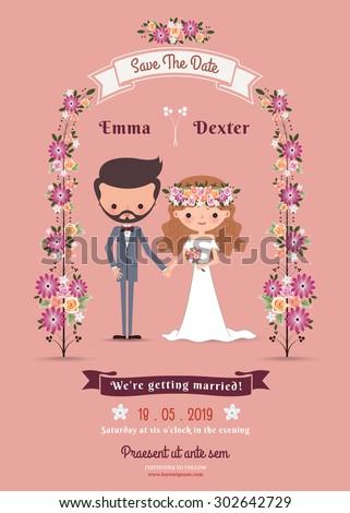 Rustic Bohemian Cartoon Couple Wedding Card On Pink Background