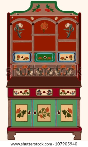 Rustic cupboard from Transylvania, with saxon motifs - stock vector
