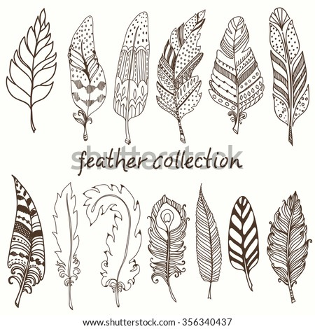 Rustic decorative feathers, doodle vintage feathers collection, Vector