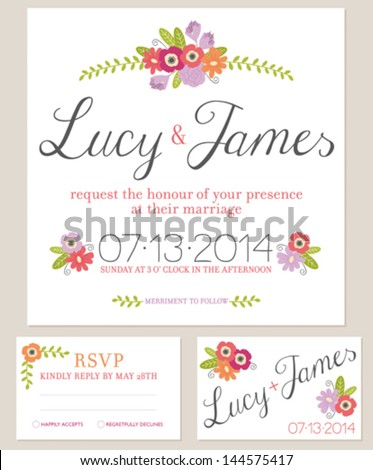 Rustic floral wedding invitation set