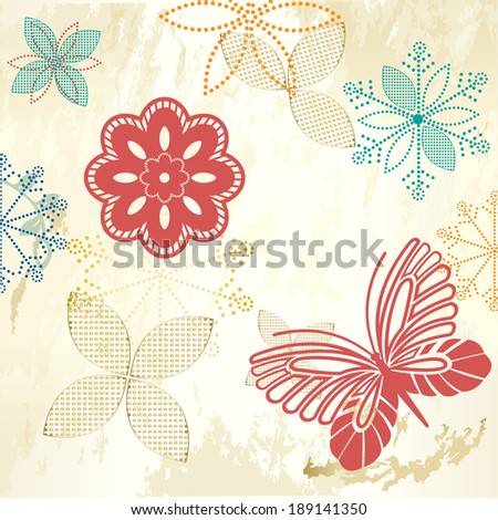 Rustic Garden flowers butterfly grunge copyspace - stock vector