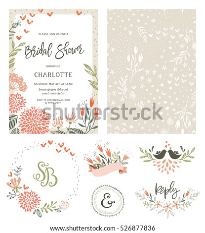 Rustic hand drawn bridal shower invitation stock vector hd royalty rustic hand drawn bridal shower invitation with seamless background and floral design elements vector illustration stopboris Image collections