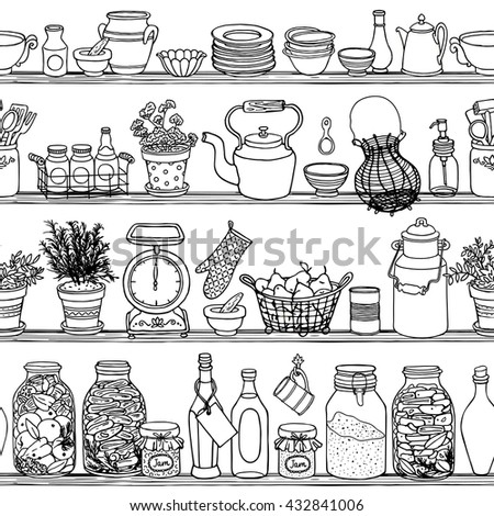 Rustic Kitchen Vector Seamless Pattern. Doodle Cooking Items Background.  Side View Sketchy Kitchen Shelves