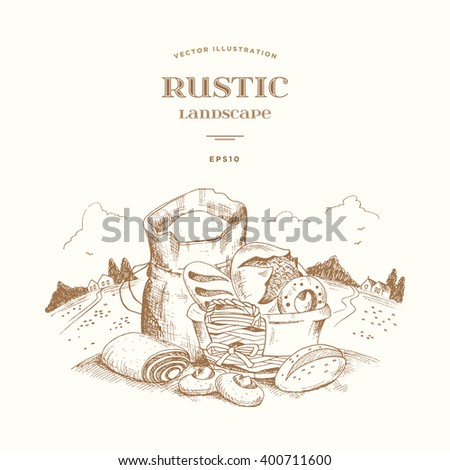 Rustic landscape with a bag of flour and wicker basket with homemade cakes: bread, bagel, baguette, cake, pie. Hand drawn illustration in woodcut style. Farm view with houses, haystacks and trees. - stock vector