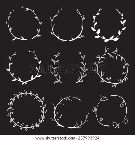 Rustic Laurel and Wreath Collection for Design on Black. Hand drawn sketchy style wreath clip art set. Vector EPS10.  - stock vector