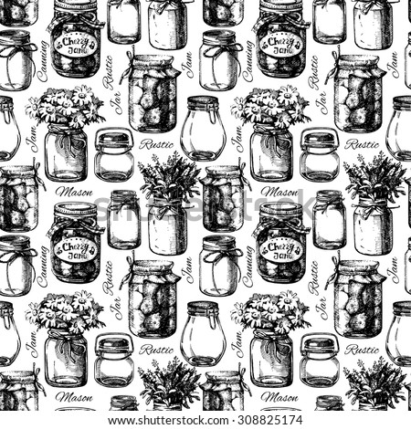 Rustic, mason and canning jar. Vintage hand drawn sketch seamless pattern. Vector illustration - stock vector