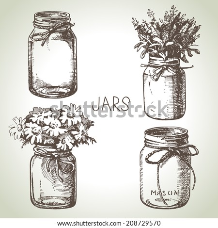 Rustic, mason and canning jars hand drawn set. Sketch design elements. Vector illustrations - stock vector