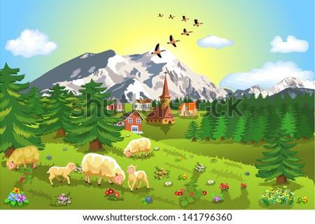 rustic mountain landscape - stock vector