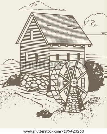 Rustic Old Mill - stock vector