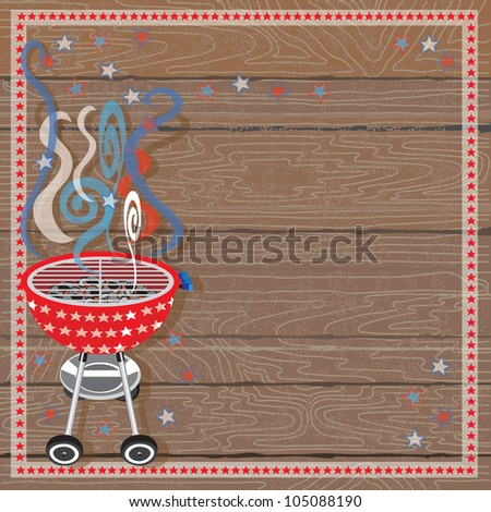 Rustic Patriotic or 4th of July BBQ Party Invitation with Red, White and Blue smoke and red barbecue grill with white stars on a wood plank background. - stock vector