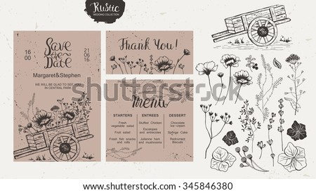 Rustic style wedding collection. Wedding invitation, menu, thank you, isolated collection of wildflowers and plants, wooden cart. - stock vector