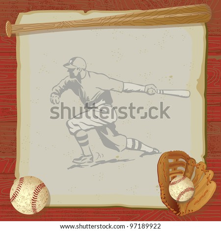 Rustic, vintage baseball party with old fashioned baseball, glove and bat on top of grungy vintage paper with a red woodgrain background. Old school baseball player swinging his bat is faded.