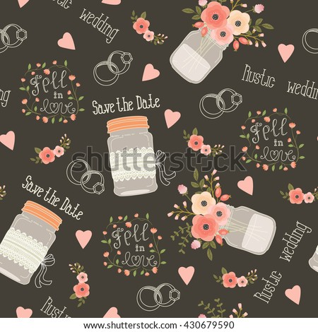 Rustic wedding vector seamless pattern. Pink and peach flowers, mason jars, flowers, lettering, rings and lettering. Eps 10 - stock vector