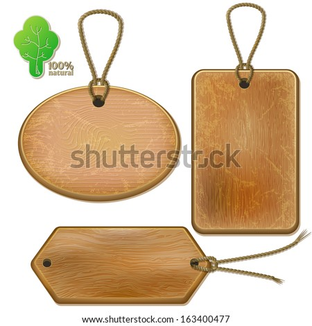 Rustic wooden labels on ropes, isolated set on white background