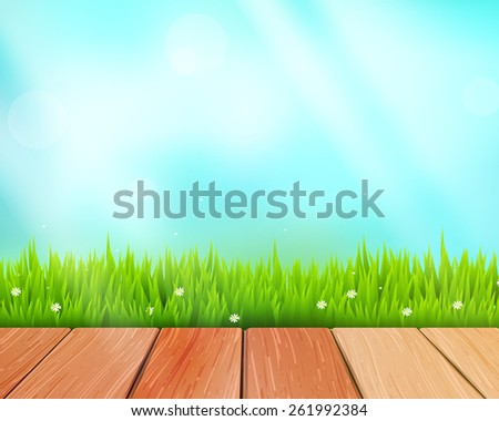 Rustic wooden planks and grass on blue background. Vector illustration - stock vector