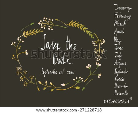 Rustic Wreath Save the Date Invitation Card with Inky Calligraphy on Black. Country floral wedding card with written text illustration. Vector EPS10.  - stock vector