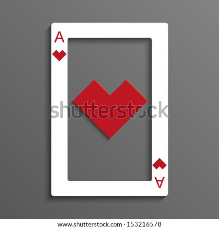 Rustrakehner color hearts playing card ace - stock vector