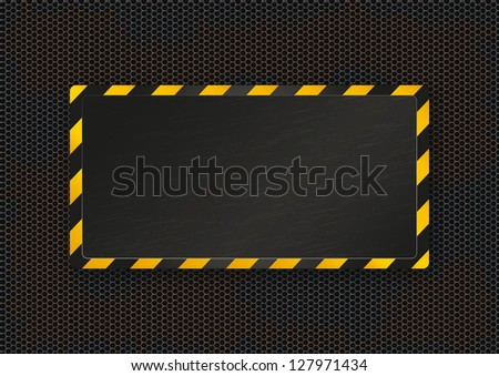 Rusty metal background with information board. Vector illustration - stock vector