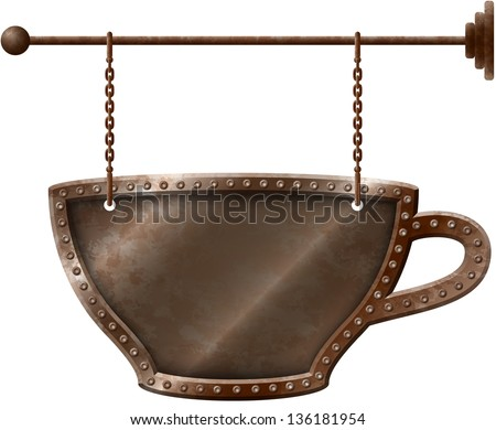 Rusty metal coffee cup signboard on chains - stock vector