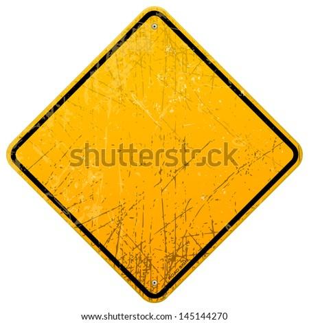 Rusty Yellow Sign - stock vector