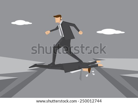 Ruthless business executive puts colleague in dangerous position and steps on him to get to other side. Conceptual vector illustration for workplace and office politics. - stock vector