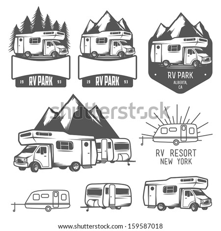 RV and caravan park badges and design elements - stock vector