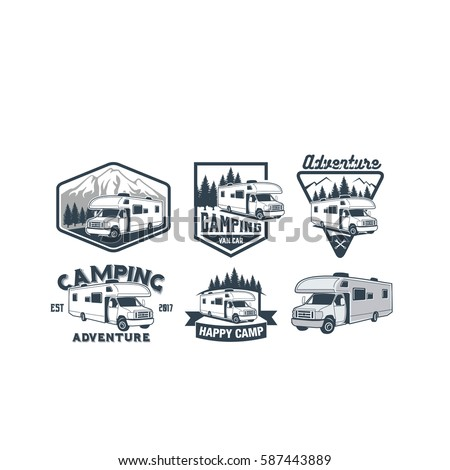 RV Camper Camping Car Vintage Logo