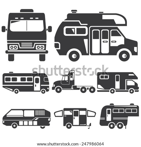 rv car icons, recreational vehicles, camper van set - stock vector