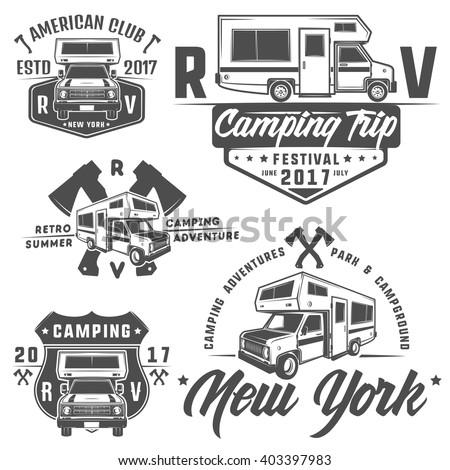 RV Cars Recreational Vehicles Camper Vans Caravans Emblemslogosigndesign Elements