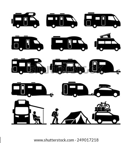 Rv cars Recreational Vehicles Camper Vans Caravans Icons  - stock vector