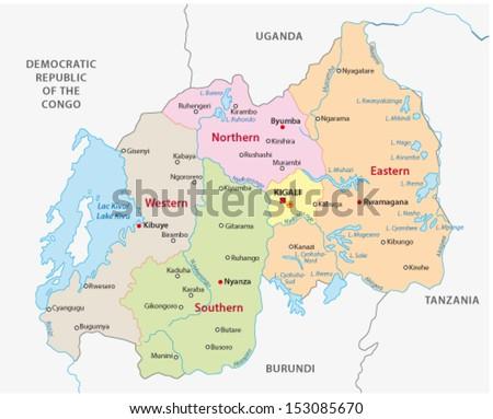 rwanda administrative map - stock vector