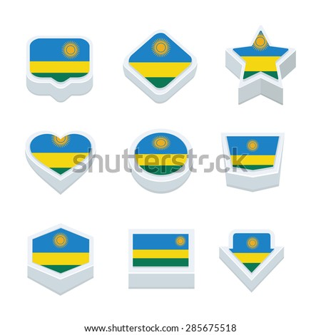 Rwanda flags icons and button set nine styles - stock vector