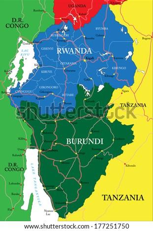 Rwanda map - stock vector