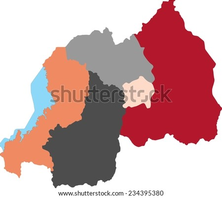 Rwanda political map with pastel colors. - stock vector