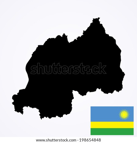 Rwanda vector map and vector flag isolated on white background. High detailed silhouette illustration.  - stock vector