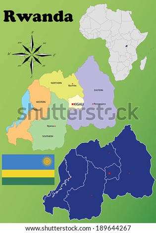 Rwanda vector set. Isolated