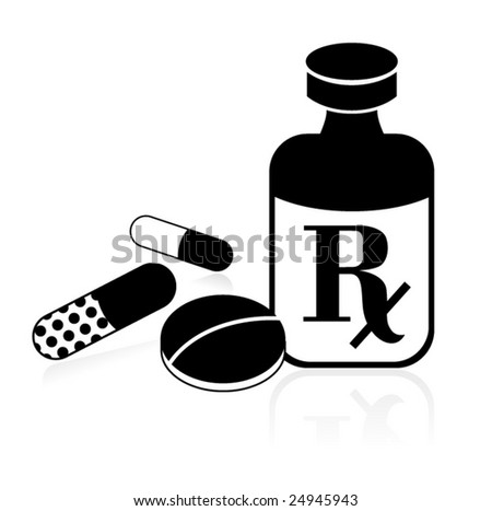 RX Bottle and Pills - stock vector