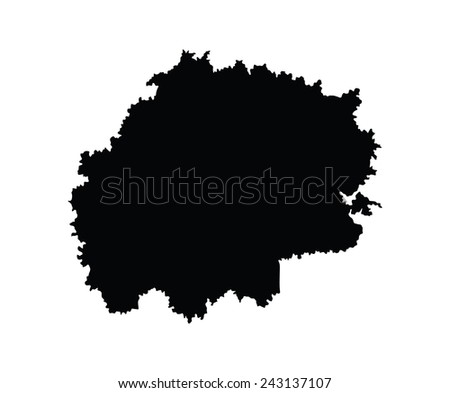 Ryazan Oblast map, vector map isolated on white background. High detailed silhouette illustration. Russia oblast map illustration.