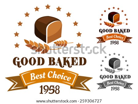 Rye bread banner or label with brown bread, ears and text for bakery design
