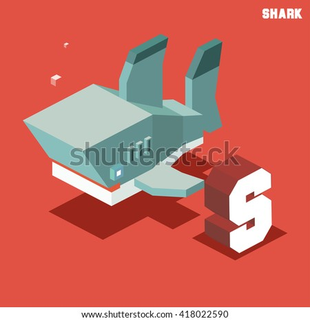 S for Shark, Animal Alphabet collection. vector illustration - stock vector