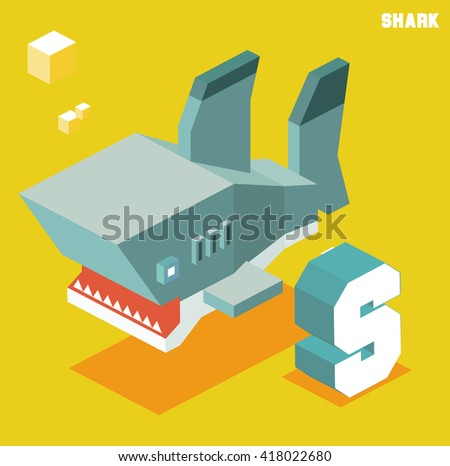 S for Shark, Animal Alphabet collection. vector illustration