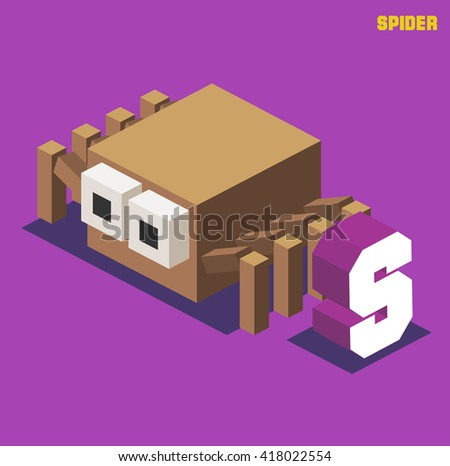 S for spider. Animal Alphabet collection. vector illustration - stock vector