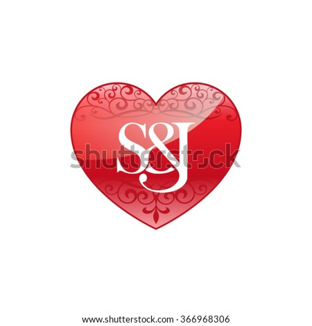 sj initial letter logo ornament heart stock vector 366968306
