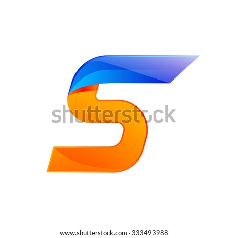 S letter blue and Orange logo design Fast speed design template elements for application. - stock vector